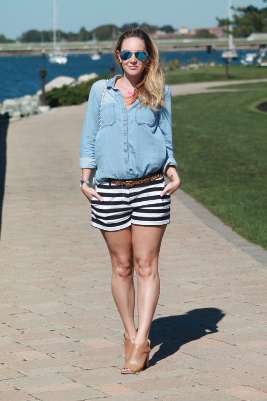 chambray top and striped shorts