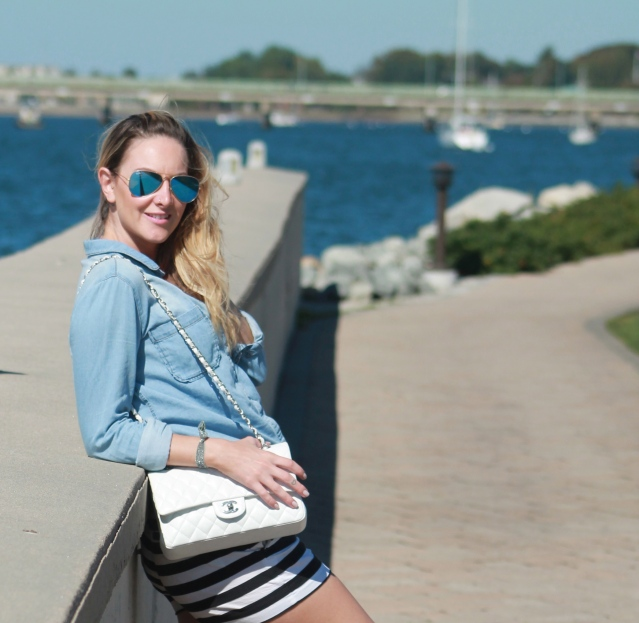 chambray top, striped shorts