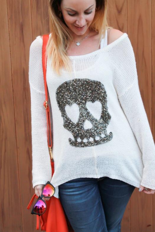 brave new world skull print knit sweater