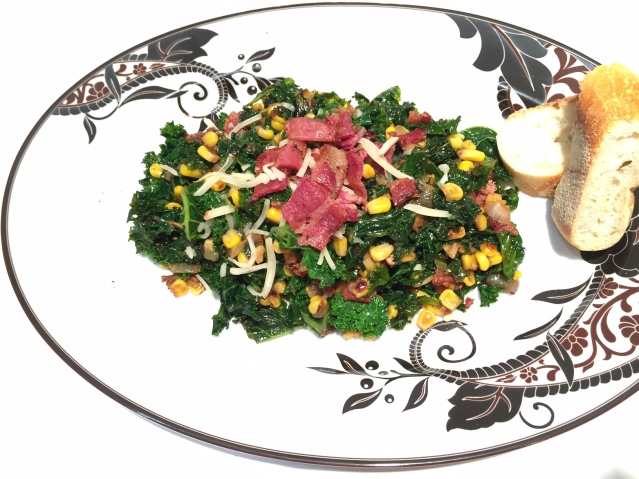 spicy kale with bacon and sweet corn