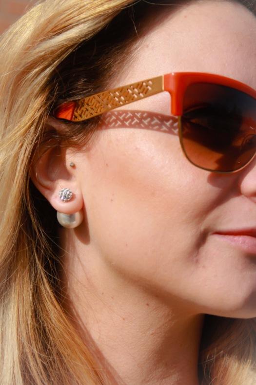 urban peach double sided earrings