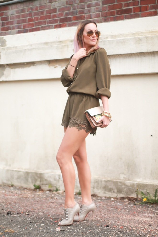 pink blush army green romper