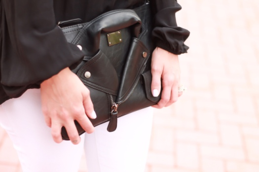 molly and zoey leather jacket clutch